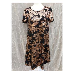 LuLaRoe Elegant Carly Dress XS black Gold floral